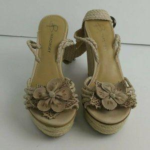 B Makowsky Marione Espadrille Shoe Size 8M Beige